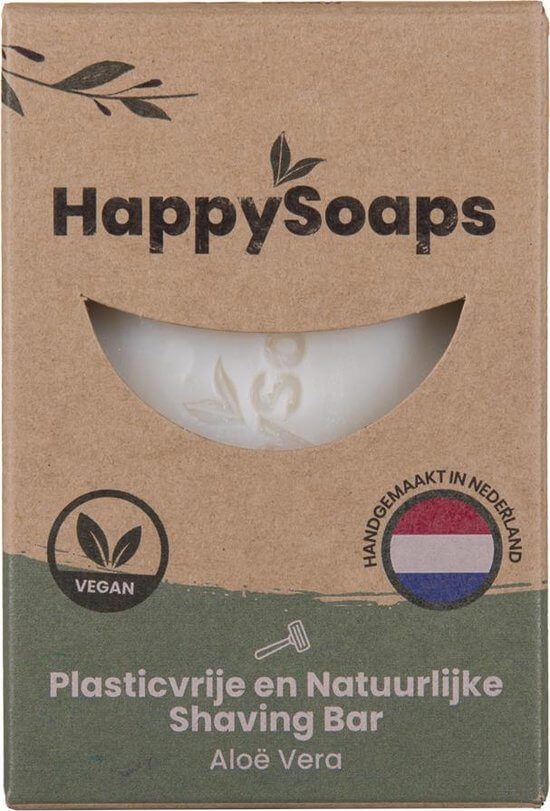 Happy Soaps -Natuurlijke - Scheerzeep - Aloe Vera - Plasticvrij - Vegan - Dierproefvrij - 80 gram