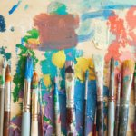 Paintbrushes in paints